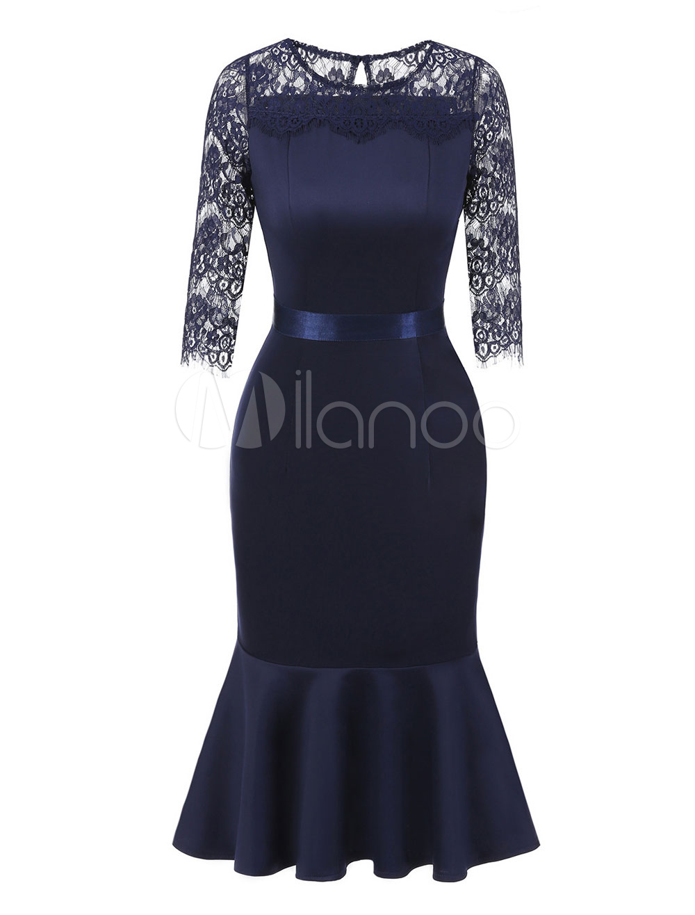 Buy Vintage Bodycon Dress Women Party Dress Lace Round Neck Deep Blue Shaping Midi Dress for $35.99 in Milanoo store