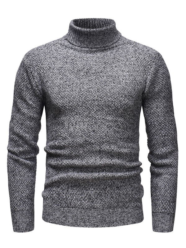 Buy Men Pullover Sweater Turtleneck Long Sleeve Grey Knit Sweater for $24.99 in Milanoo store