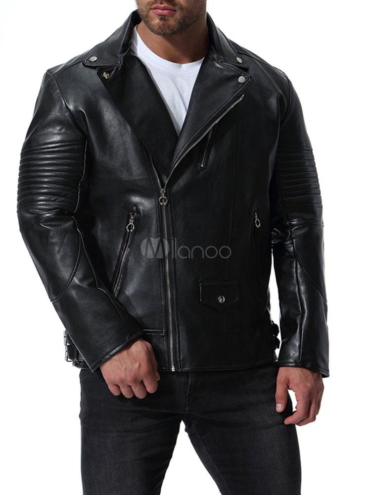 comment chercher sélectionner pour le meilleur acheter pas cher Veste motard homme grande taille col rabattu fermeture à glissière veste en  cuir noir