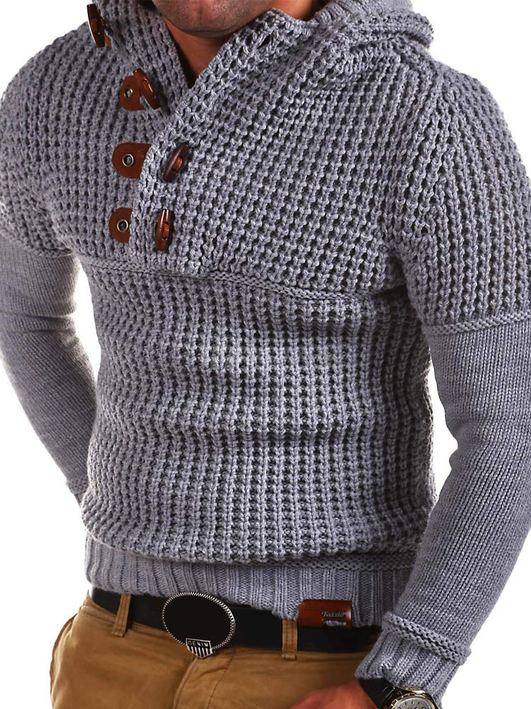 Men Pullover Sweater Hooded Claw Button Long Sleeve Knit Sweater-No.1 ... 82c3c46b8
