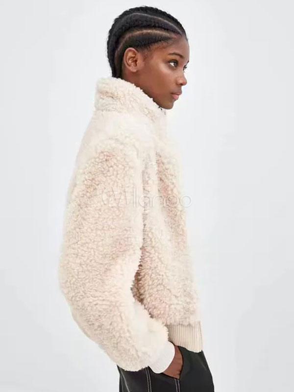 Abrigo de piel de imitación abrigo de oso de peluche de las mujeres ...