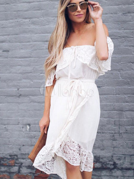 45082eae0b0c White Summer Dress Lace Half Sleeve Chiffon Dress Off The Shoulder Dress-No.1  ...