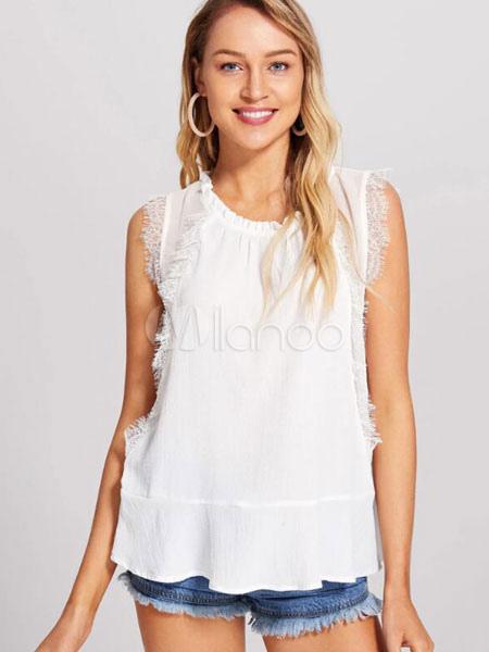 7b6798c9b1348e White Chiffon Blouse Sleeveless Lace Trim Vest Top For Women-No.1 ...