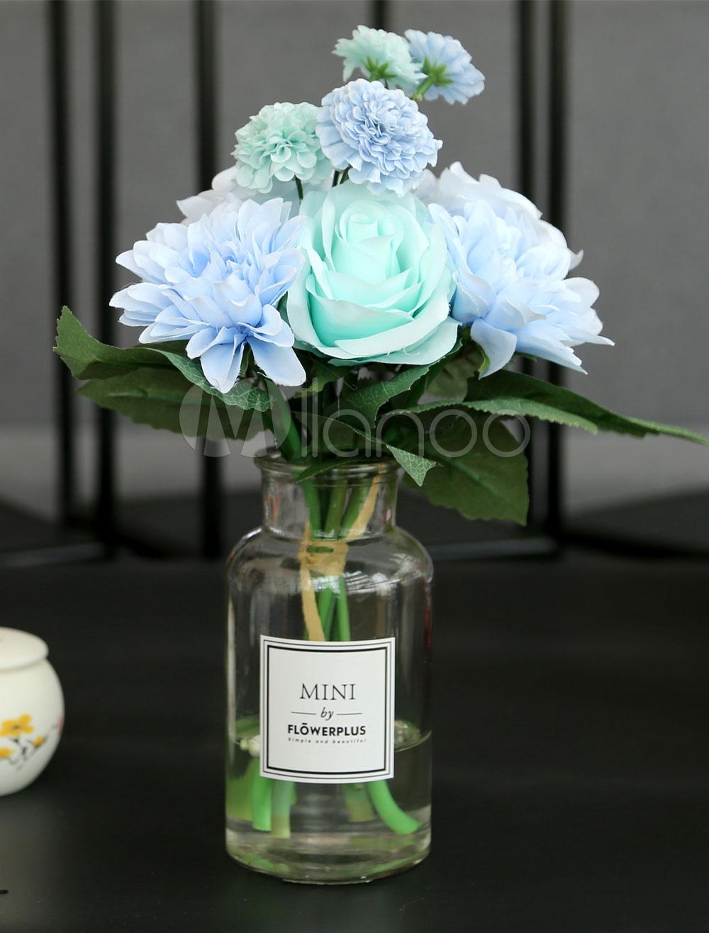 Wedding Table Decorations Flower Silk Light Sky Blue Glass Vase Dining Room Table Centerpieces Milanoo Com