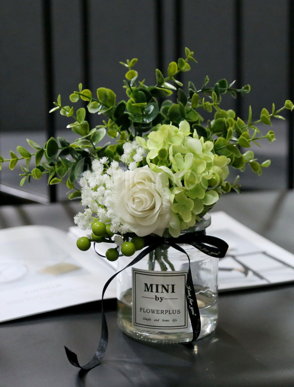 Flowers Table Decorations Wedding Ivory Silk Glass Vase Dining Room Table Centerpieces Milanoo Com