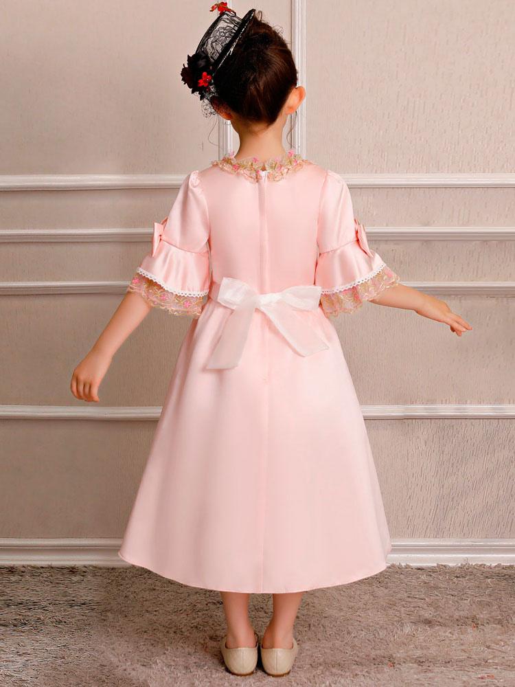 ... Crianças Retro Traje Do Dia Das Bruxas Meninas Royal Rococó Vestido  Rosa Arcos Lace Satin Meia f468f76df3