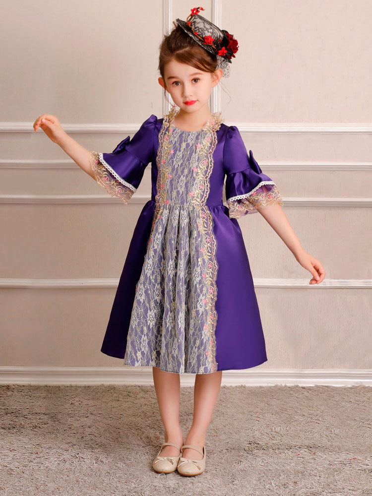 ... Crianças Retro Traje Do Dia Das Bruxas Meninas Royal Rococó Vestido  Rosa Arcos Lace Satin Meia ... c36863457c
