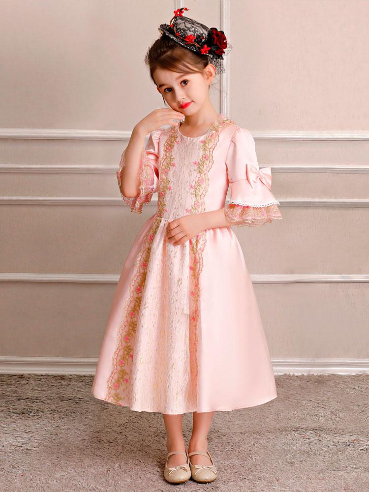 Crianças Retro Traje Do Dia Das Bruxas Meninas Royal Rococó Vestido Rosa  Arcos Lace Satin Meia ... ffd7b5fa72