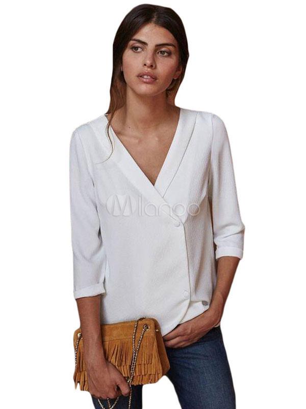 60ef07c0ea5c Camisa de vestir para mujer Botón con cuello en V blanco Blusa con manga  tres cuartos Arriba