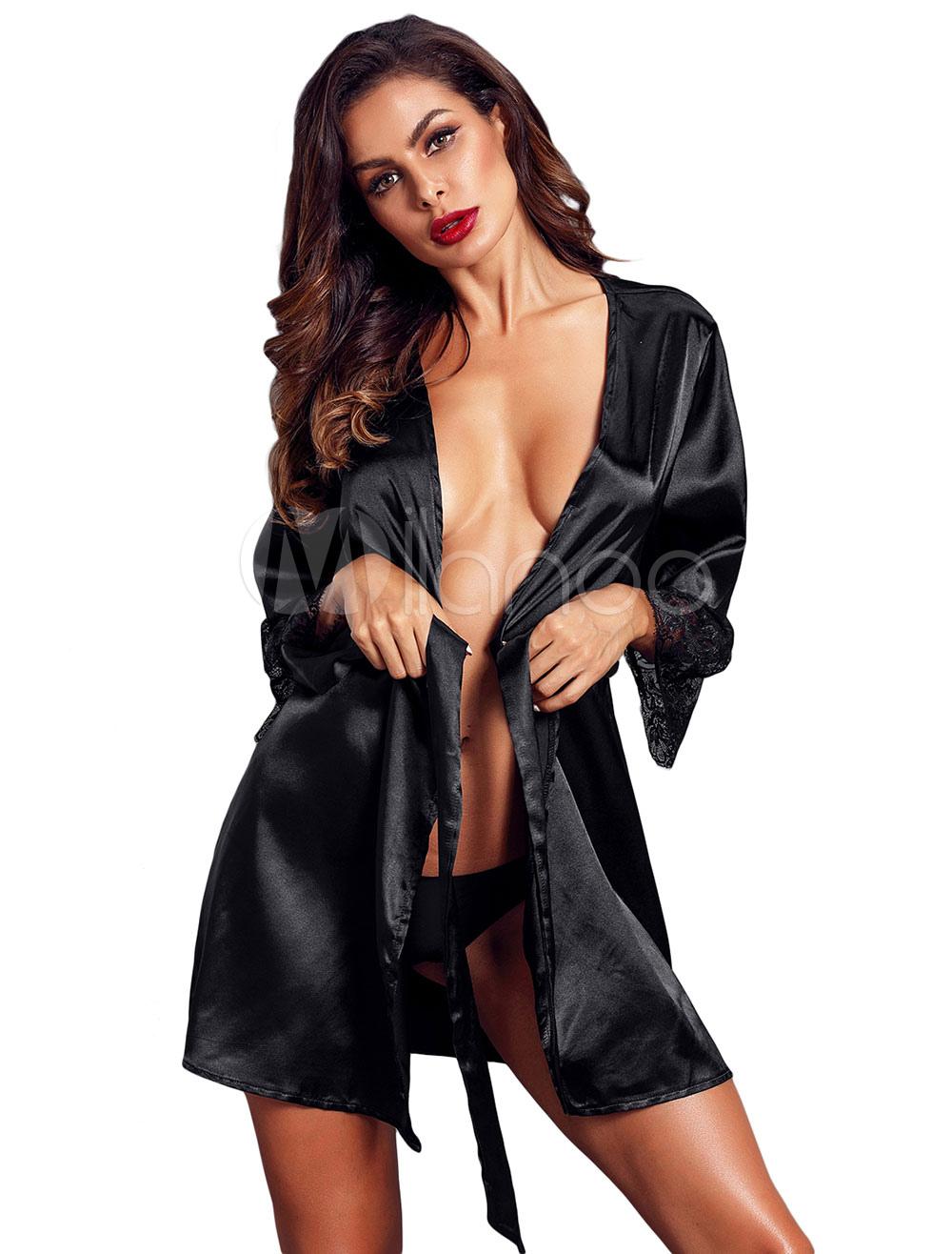 Черная сексуальная мантия кружева матовая атласная женская ночная рубашка-No.1  ... ac06a2c5c5b06