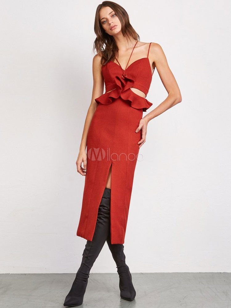 99ad42c65d9 Красное сексуальное платье для вечеринки без рукавов длинное платье  вырезанное из оборков сплит вечернее платье- ...