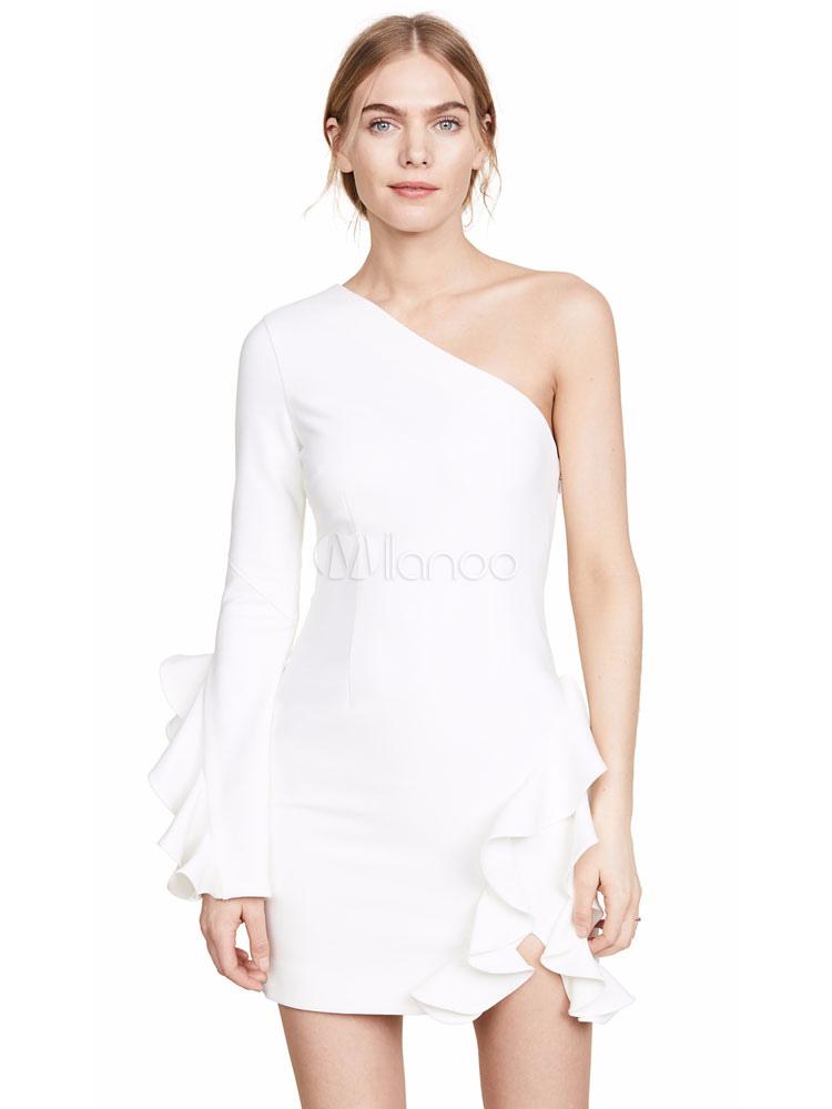hot sales 7dbd3 1cbbf Weißes Partykleid Langarm Kleid One Shoulder Shaping Minikleid