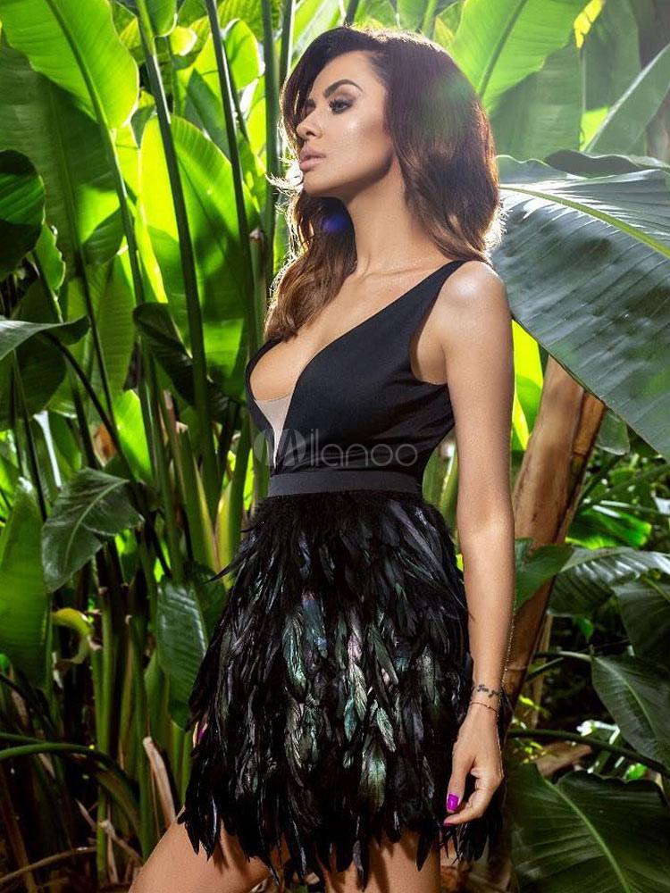 ada3aa054537 ... Vestito da partito nero Vestito corto sexy Vestito senza maniche da  donna con scollo a V ...