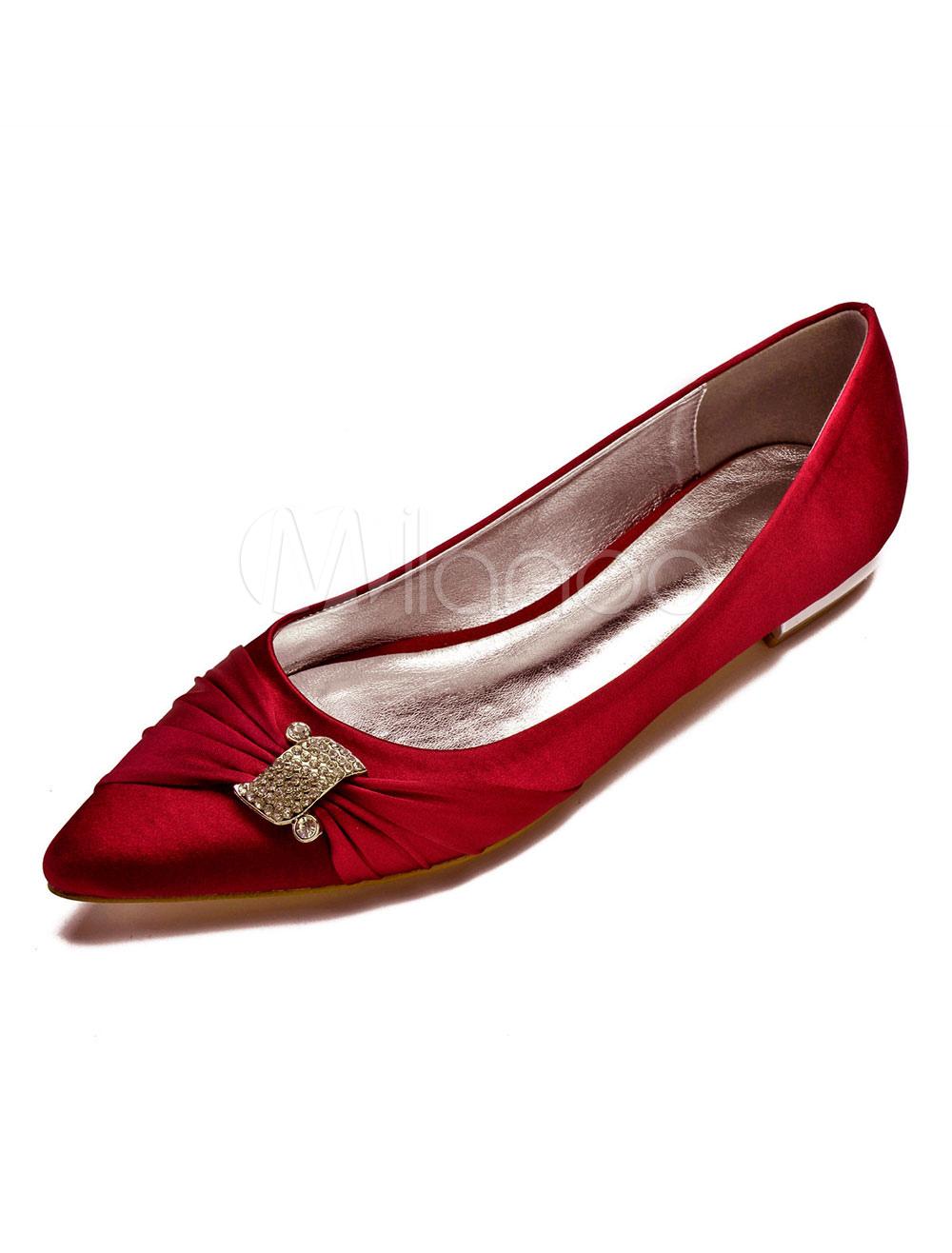 choisir le dernier Livraison gratuite dans le monde entier fournisseur officiel Mère de la mariée chaussures chaussures de mariage blanc invité chaussures  bout pointu strass chaussures de mariée plates