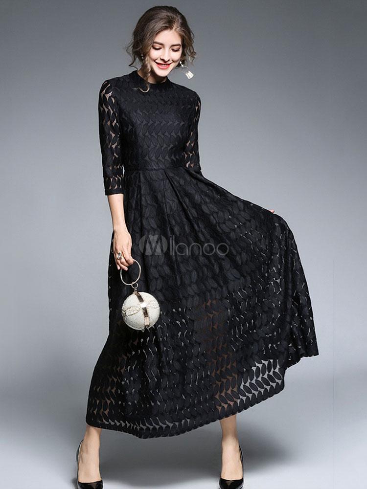 acf296cec فستان دانتيل أسود فستان سهرة ماكسي فستان طويل بأكمام طويلة من Crewneck  Fall-No.