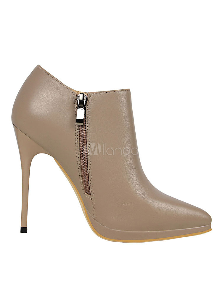 ed9710ddf73e ... High Heel Booties Women Pointed Toe Stiletto Heel Low Ankle Boots-No.5  ...
