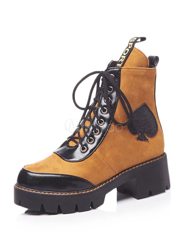 buy online 4cef0 2731b Braun Stiefeletten Wildleder Runde Kappe Patchwork Lace Up Martin Stiefel  für Frauen