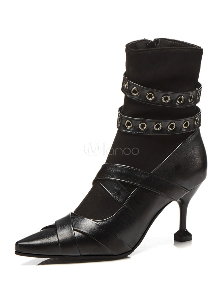 30920aff646 Black Ankle Boots Women Pointed Toe Grommets Detail High Heel Booties