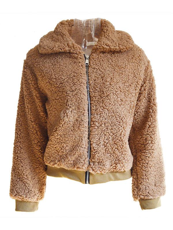 women teddy bear coat faux fur coat turndown collar zip up. Black Bedroom Furniture Sets. Home Design Ideas