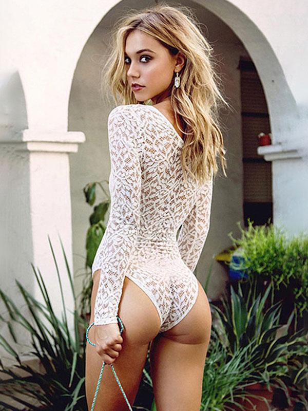 Body en dentelle blanche Femme Sexy Plunging Lace Up Top à manches longues -No. 589b6b4968a