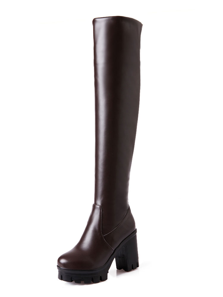 Buy Brown Over The Knee Boots Women Round Toe Chunky Heel High Heel Thigh High Boots for $35.69 in Milanoo store