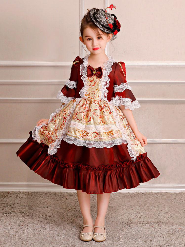 5aaed7fced5c Kids Halloween Retro Costume Little Girls Rococo Dress Red Floral Ruffles  Half Sleeve Royal Vintage Dress ...