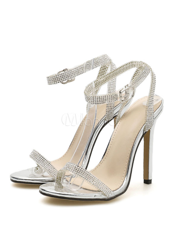 High Heel Sandals Silver Open Toe Rhinestones Ankle Strap Sandal Shoes  Women Party Shoes-No ...