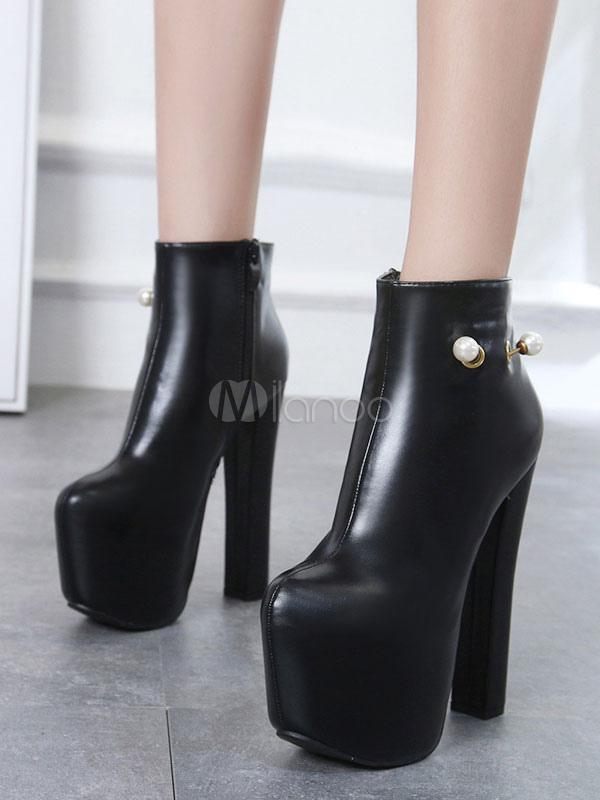0da1a6ba9 ... Botines negros botines de tacón alto de perlas de plataforma de mujer  zapatos de tacón alto