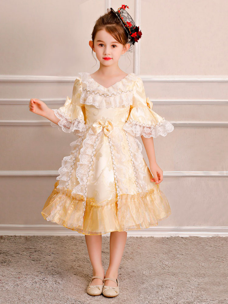 Crianças Retro Traje de Halloween Meninas Rococó Vestido Loira Ruffles Lace  Bows Meia Manga Vestido Vintage ... 02ca054df2