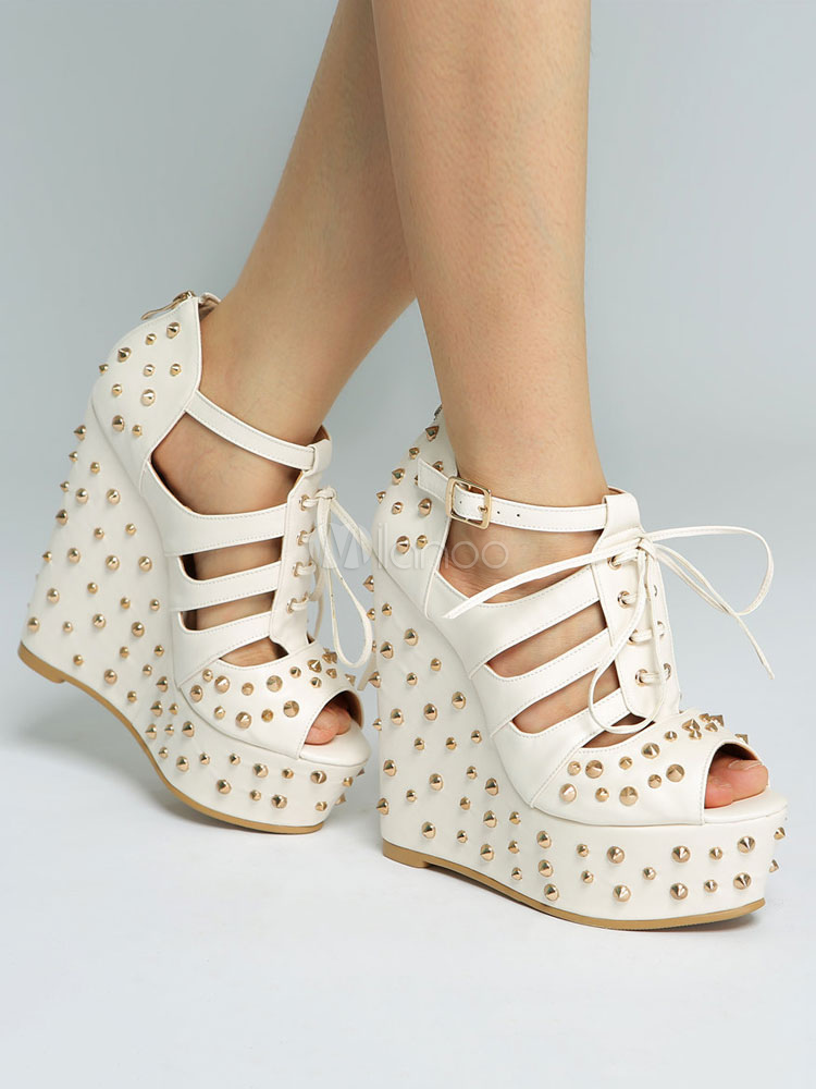 03df7a03a12a Women Wedge Sandals Ecru White Platform Peep Toe Rivets Cut Out Lace Up  Sandal Shoes- ...