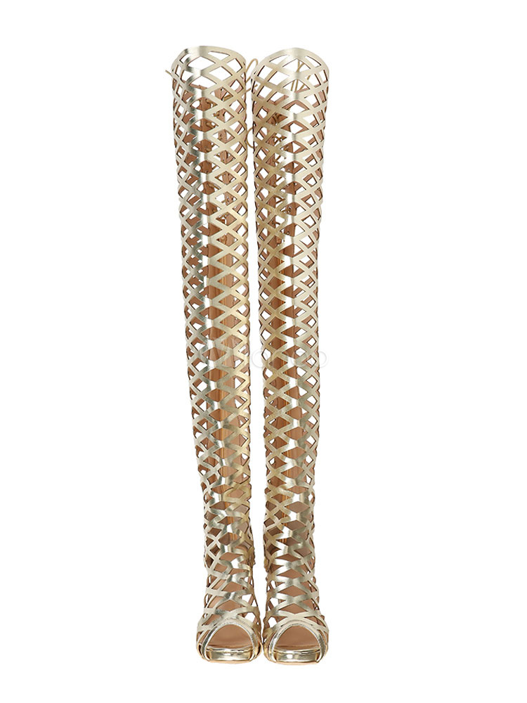 411083b17b2 Gold Gladiator Sandals Women Peep Toe Cut Out High Heel Over The Knee  Sandal Boots