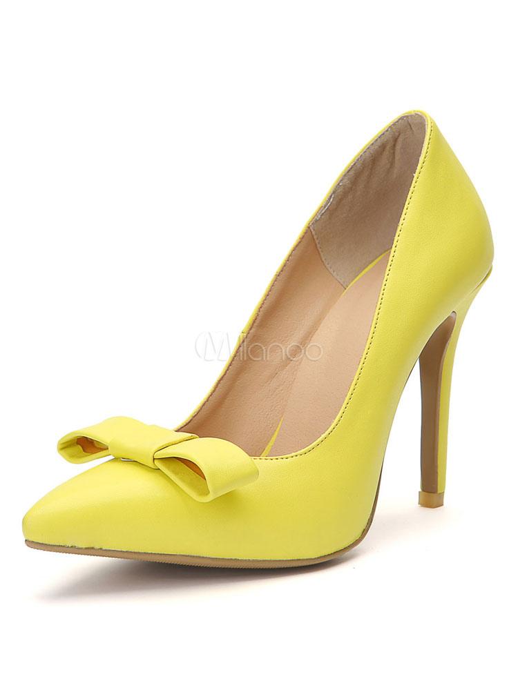Frauen Stiletto Dress High Heel Schuhe Spitzschuh Heels Gelbe 3FcTlK1J