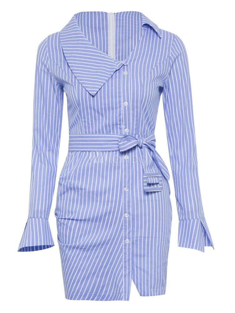robe chemise bleu moulante