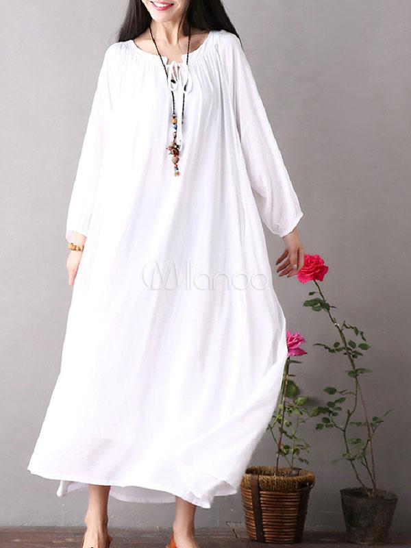 Vestido Longo Branco De Grandes Dimensões Vestido Longo Maxi De Manga Comprida Vestido Redondo De Manga Longa Do Pescoço