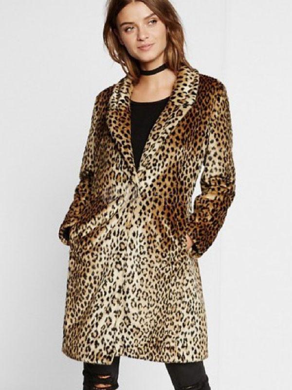 revendeur 5182a 359be Manteau léopard en fausse fourrure femme manteau en duvet manteau d'hiver
