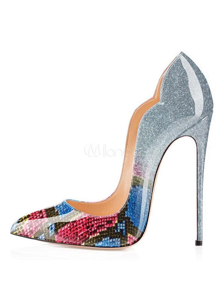 Blaues Kleid Schuhe Frauen Spitz Schlange Muster Stiletto ...