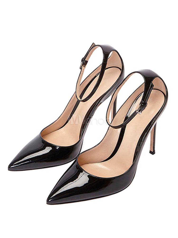 fffb9ba7fe4db1 Escarpins Femmes 2019 Noir Talon Haut Chaussures de Soirée Bout Pointu  Talon Aiguille Sangle de Cheville ...