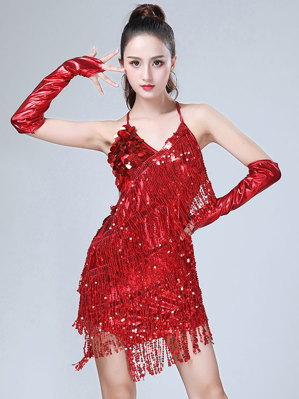 b9121ef7fca Latin Dance Costume Dresses Red Women Sequin Tassels Halter Short Sexy  Dancing Wear-No.
