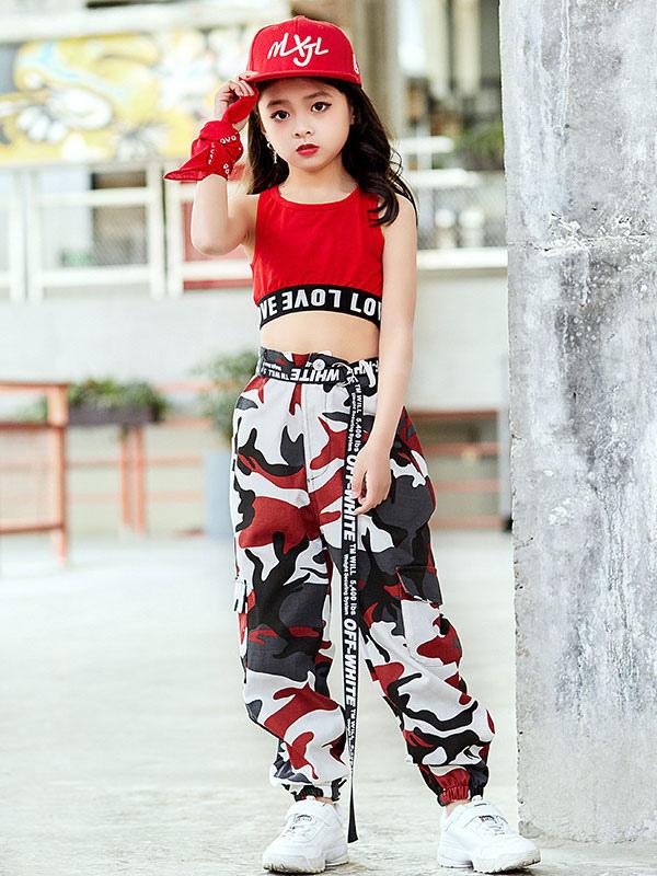 51ca74763 Traje De Pantalones Cortos Conjunto Impresos Para Niñas En Y Jazz Rojo  Baile Niños W2IDEH9