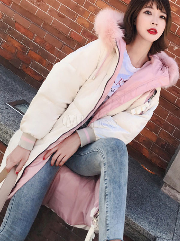 0bf984d0b Women Puffer Coat Faux Fur Trim Hooded Cotton Filled Quilted Coat For Winter
