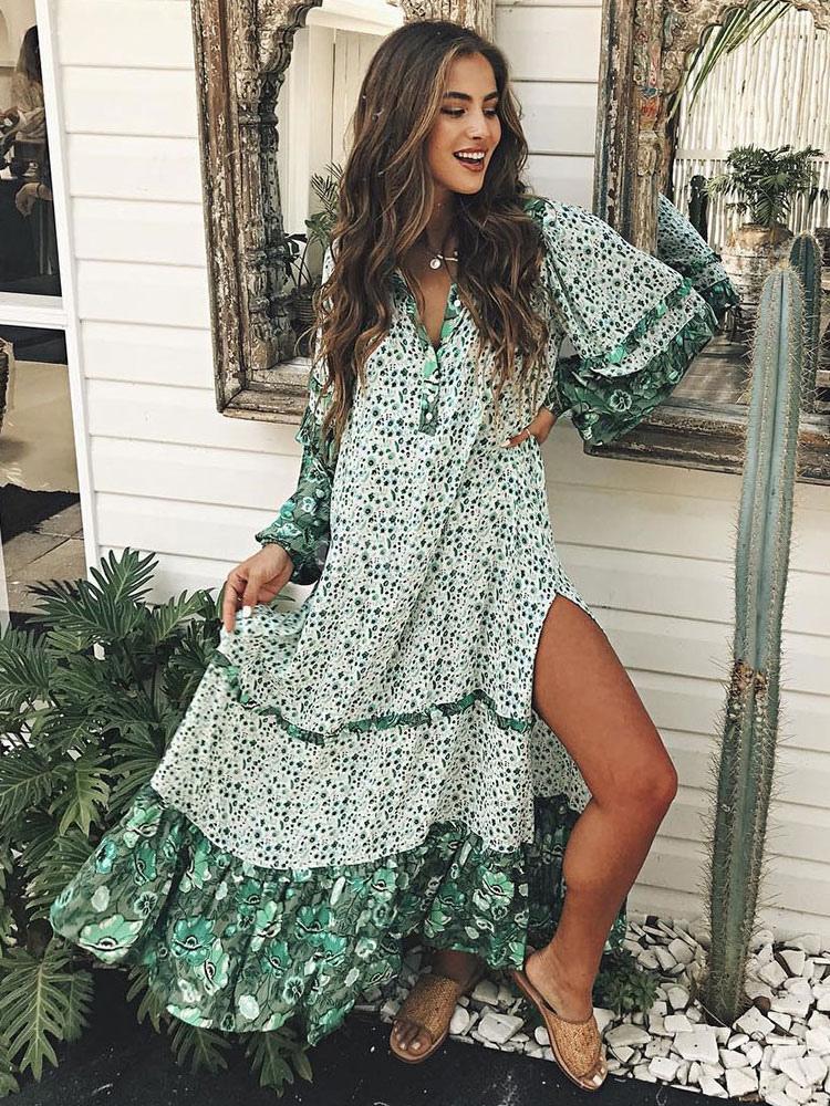 db9c4743717 Maxi Boho Dress Long Sleeve Dress Turndown Collar Ruffles Split Printed  Green Beach Dress-No ...