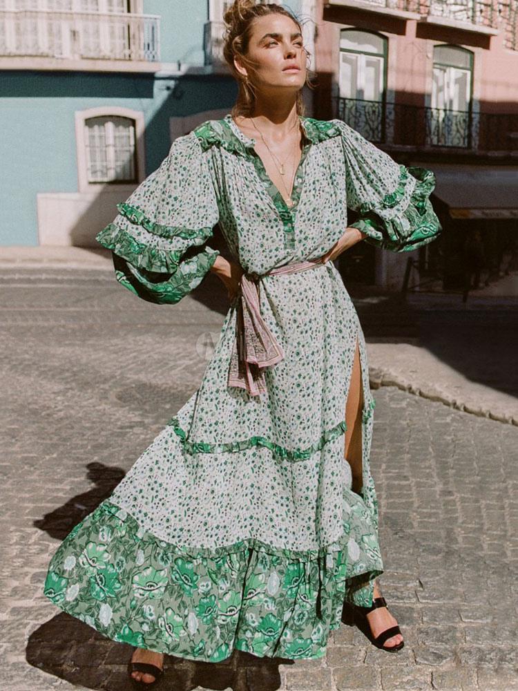 7ef62b08a57 ... Maxi Boho Dress Long Sleeve Dress Turndown Collar Ruffles Split Printed  Green Beach Dress-No ...