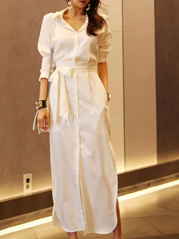 2913941797 White Shirt Dress Long Sleeve Maxi Dress Turndown Collar Buttons Fall  Dress-No.1 ...