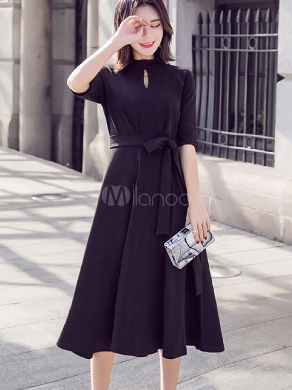 0a619b51a5 Vestido longo preto metade manga buraco fechadura caimento vestido-No.1 ...