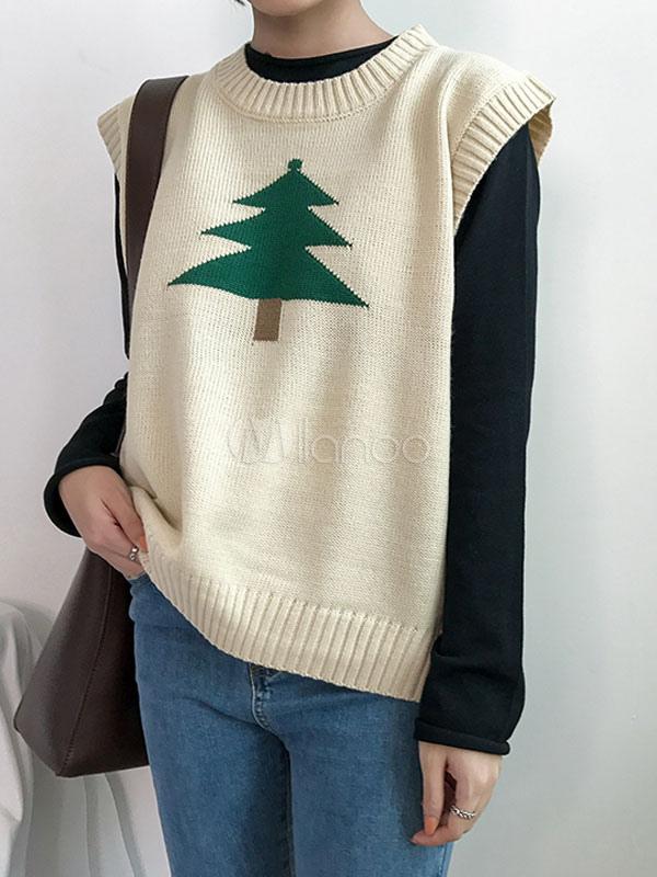 Chaleco de suéter de las mujeres Patrón del árbol de navidad Jewel ...