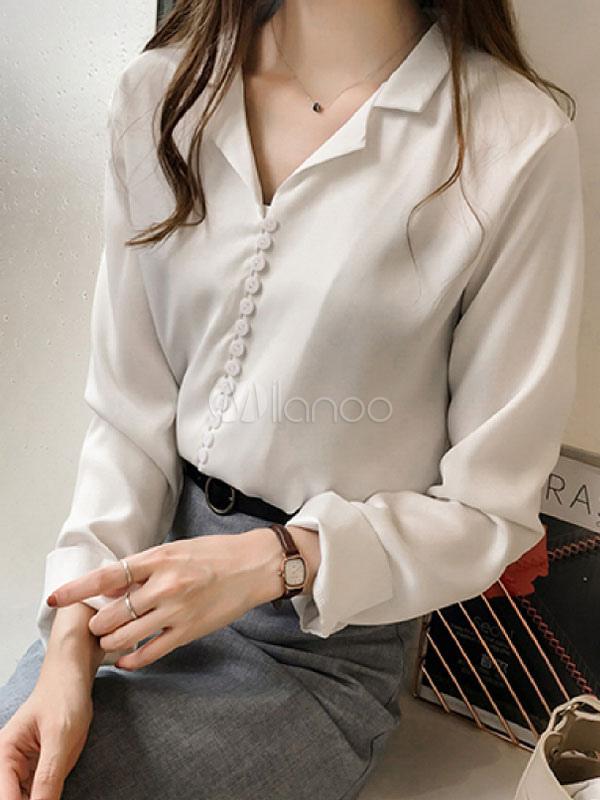 9cb29c4090 Camisa de vestir para mujer Botón Camisa de manga larga para doblar-No.1 ...