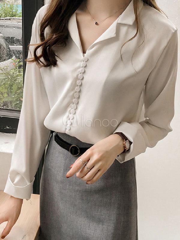 d541c549bb61 Camisa de vestir para mujer Botón Camisa de manga larga para doblar