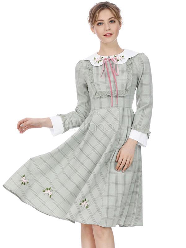 72ad66292bb1 Vintage Dresses · Grey Vintage Dress Peter Pan Collar Long Sleeve Dress  Lace Flower Embroidered Ruffles Plaid Midi Dress ...