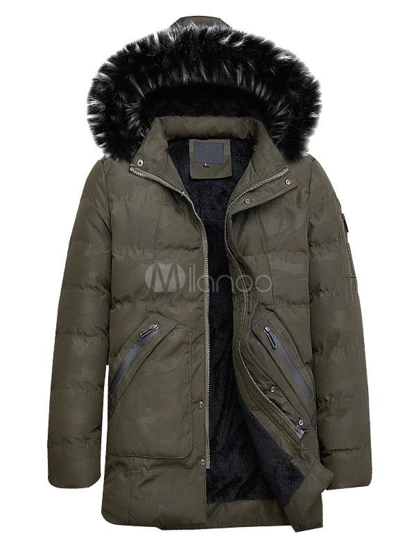 f1216993eedcc Men Winter Overcoat Furry Hooded Camo Pattern Puffer Coat Plush Lining  Zipper Pocket Hunter Green Down ...