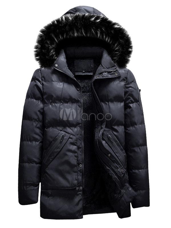 4da4a9b033de2 ... Men Winter Overcoat Furry Hooded Camo Pattern Puffer Coat Plush Lining  Zipper Pocket Hunter Green Down ...